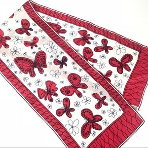 VTG long scarf red white blue butterfly silk